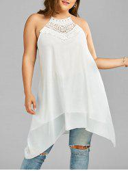 Plus Size Crochet Trim Chiffon Tunic Top
