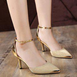 Metal Toe Two Piece Pumps - GOLDEN
