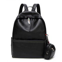 Coin Purse and Ethnic Pendant Rivet Backpack - BLACK