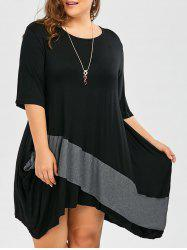 Plus Size Dolman Sleeve Color Block Tunic Baggy Dress