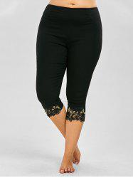 Plus Size Lace Trim Elastic Waist Pants - BLACK