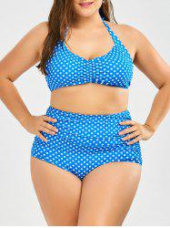 Plus Size High Waist Vintage Halter Polka Dot  Bikini Set