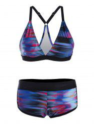 Plus Size Stripe Gradient Bikini Set