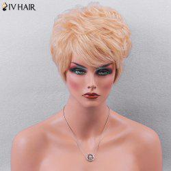 Siv Hair Side Bang Textured Layered Short Wavy Pixie Human Hair Wig