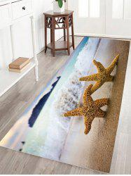 Starfish Print Water Absorption Flannel Skid Resistant Bathroom Rug - SAND YELLOW