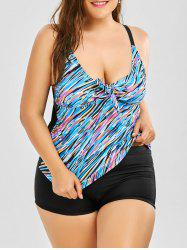 Plus Size Padded Print Tankini Set