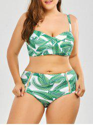 Tropical Palm Leaf Plus Size Halter Top Bikini