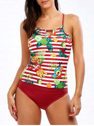 Tropical Pineapple Cross Back Tankini Set
