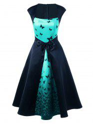Butterfly Print Bowknot Embellished Square Neck Dress - CYAN