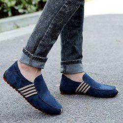 Striped Slip On Casual Shoes - CERULEAN