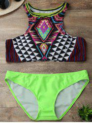 High Neck Tribal Print Two-Piece Swimsuit - GREEN