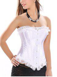 Strapless Lace-Up Satin Corset Top - WHITE 2XL