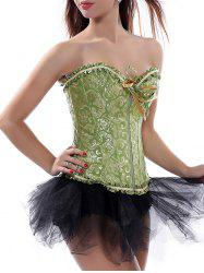 Ruffle Lace-Up Corset Top - GREEN S