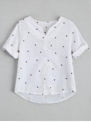 Star Print Split Neck Blouse