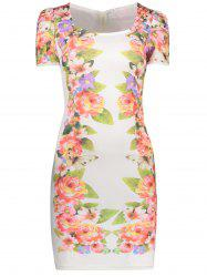 Ruched Floral Print Bodycon Mini Dress