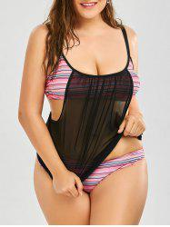 Padded Bra Mesh Trim Stripe Plus Size Tankini