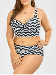 Retro Plus Size Zigzag Underwire Bikini Swimsuit