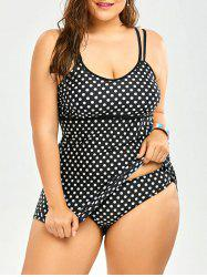 Plus Size Padded Retro Polka Dot Tankini