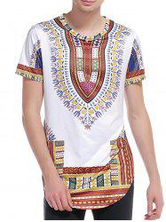 Short Sleeve Ethnic Style Print Curve Bottom T-Shirt -