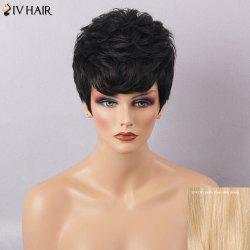 Siv Hair Side Bang Short Textured Layered Slightly Curly Human Hair Wig