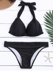 Ensemble bikini moulé push-up Halter - Noir