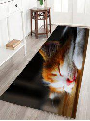 Sleeping Cat Print Flannel Skid résistant athroom Rug - Noir