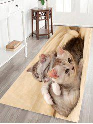 Two Kittens Print Flannel Skidproof Bathroom Rug - BEIGE