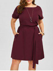 Plus Size Belted Knee Length A Line Dress With Pocket - WINE RED