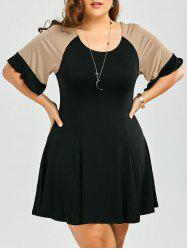 Casual Going Out Color Block Plus Size A Line Dress - BLACK