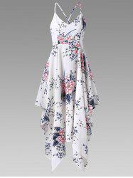 Criss Cross Tiny Floral Handkerchief Dress - WHITE