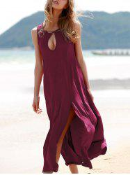 Elegant Keyhole Design High Slit Women's Long Dress