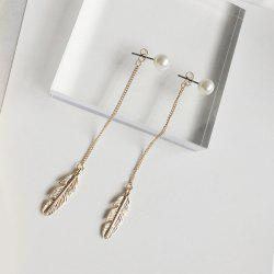 Metal Leaf Pendant Faux Pearl Drop Earrings