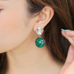 Metallic Plated Round Piece Faux Gem Earrings
