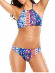 Bohemian Print Backless Halter Crop Top Bikini