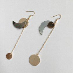 Asymmetric Sun Moon Design Drop Earrings