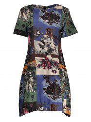 Oversized Trapeze Dress with Ink Painting
