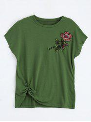 Floral Embroidered Front Twist Top