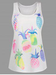 Long Pineapple Print Racerback Tank Top
