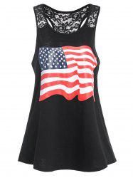 Racerback American Flag Graphic Patriotic Tank Top - BLACK
