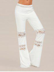 Lace Trim Elastic Waist Flared Pants - WHITE