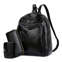 3 Pieces PU Leather Backpack Set - BLACK