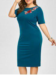 Embroidered Plus Size Midi Sheath Work Dress