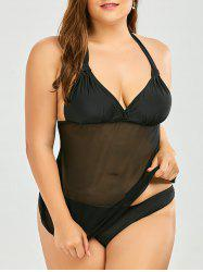 Plus Size Mesh Panel Halter Padded Tankini Swimwear