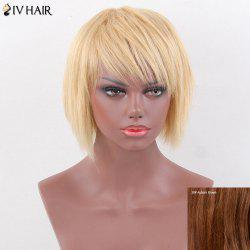 Siv Hair Pixie Short Oblique Bang Straight Layered Human Hair Wig