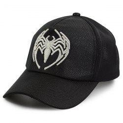 Mesh Spliced Spider Embroidered Baseball Hat - FULL BLACK