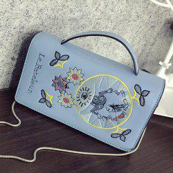 Embroidered Flap Crossbody Bag