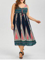 A Line Sleeveless Boho Midi Dress - COLORMIX