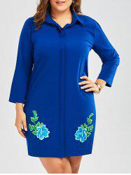Plus Size Embroidered Shirt Dress With Sleeves