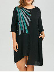 Plus Size Linen Graphic Asymmetric T-Shirt Dress