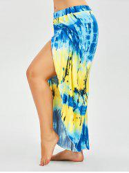 Plus Size High Slit Tie Dye Palazzo Dressy Pants